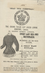Advert for the Crown Tailor Cut Dress Lining Company, Ltd